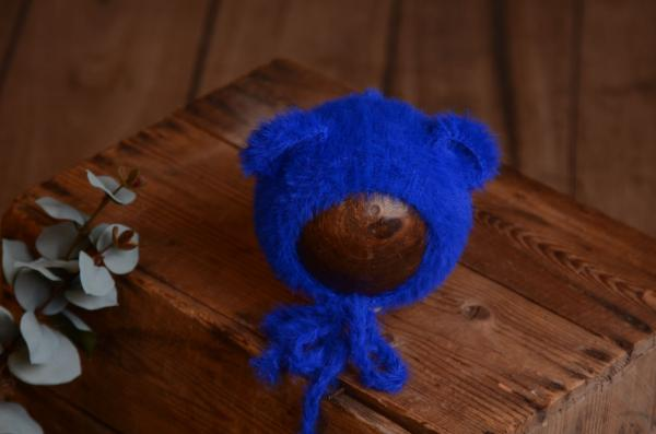 Cobalt blue fur hat with ears