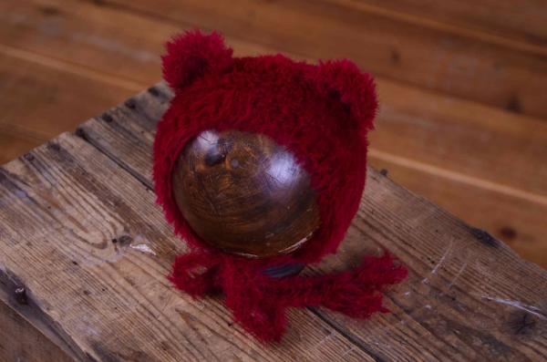 Burgundy fur hat with ears