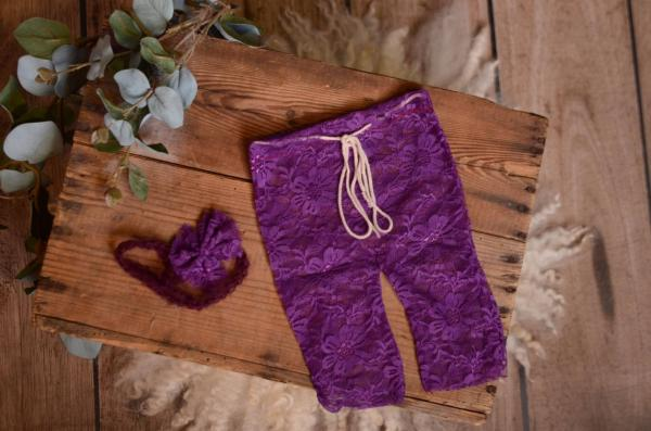 Purple pants and headband lace set