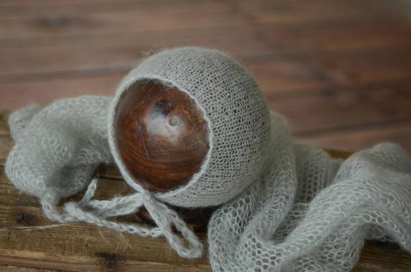 Set en mohair de wrap et bonnet gris clair