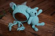 Aquamarine teddy bear and hat set