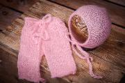 Pink mohair pants and hat set