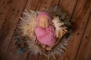 Set wrap e berretto di angora fantasia rosa
