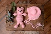Baby pink bean and hat set