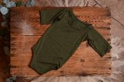 Bottle green stitch bodysuit with long sleeves