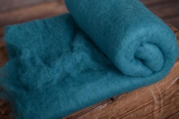 Manta de lana turquesa