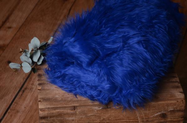 Langhaarige Decke - metallicblau