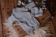 Pyjama et bonnet en mohair bleu ciel