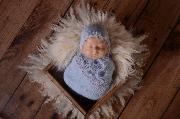 Set de wrap y gorro de angora de fantasía azul bebé