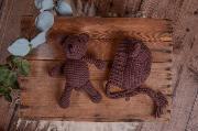 Dark brown teddy bear and hat set