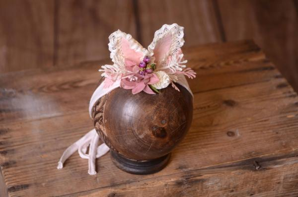 Pink and white fantasy headdress with little ears