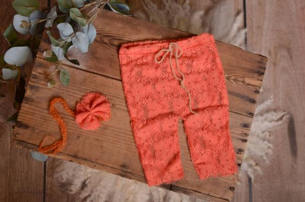Coral pants and headband lace set