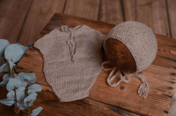 Grey mohair bodysuit and hat