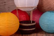 Bunter rustikaler Heißluftballon