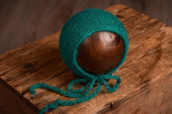Mütze aus Angorawolle in Blaugrün