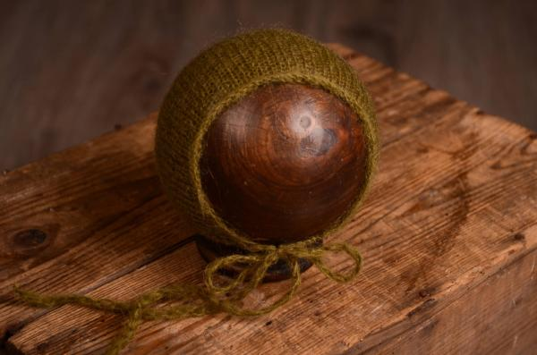 Mütze aus Angorawolle in Olivgrün