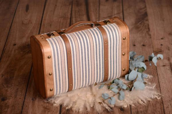 Blue and white striped rustic suitcase 37 cm