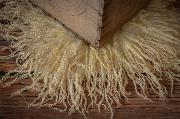 Beige square virgin wool blanket