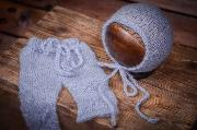Light blue adapted mohair pants and hat set