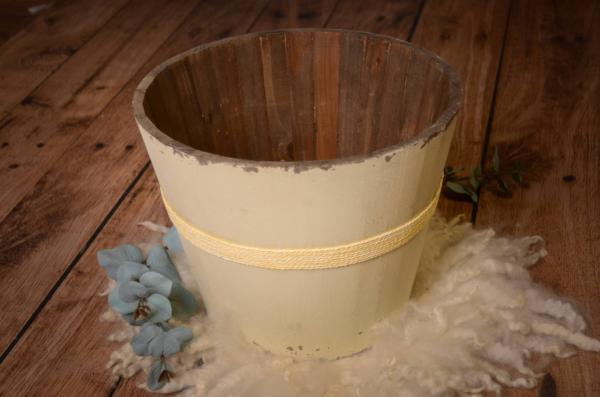 Large beige rustic bucket