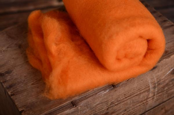 Orange natural wool blanket