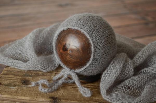 Set Wrap aus Angora mit Mütze in Grau