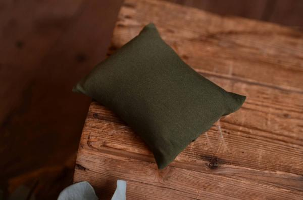 Mini pillow with bottle green cover