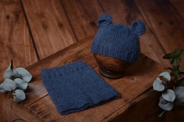 Dark blue mohair set with ears