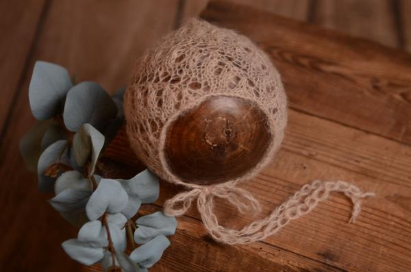 Fantasiemütze aus Angorawolle in Beige