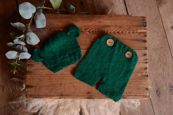 Greenish blue mohair set with ears