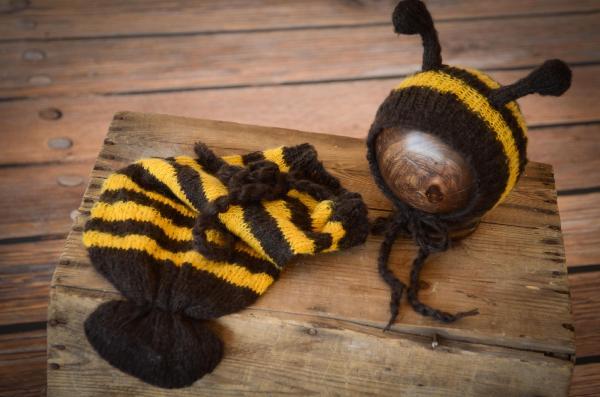 Déguisement d'abeille en mohair jaune et black