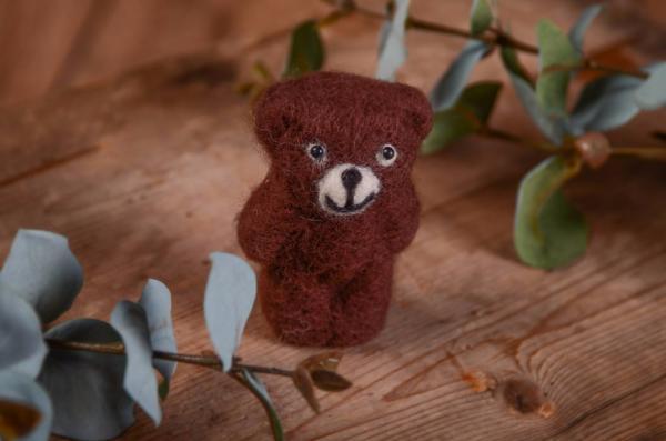 Dark brown little bear toy 9 cm