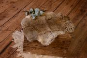 Light brown and grey fur fabric