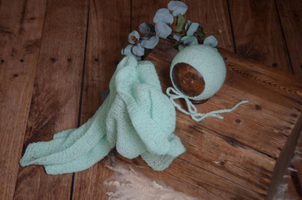 Set de wrap en mohair lisse et bonnet vert mint
