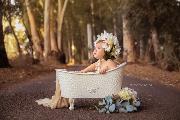Capota floral bebé beige