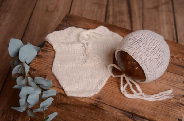 White mohair bodysuit and hat