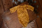 Mustard yellow long-sleeve lace bodysuit