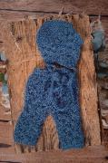 Conjunto de angora pantalón y gorro abiertos azul marino