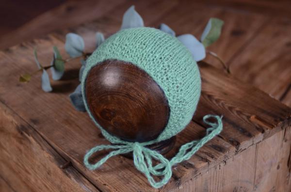 Glatte Angoramütze in mintgrün