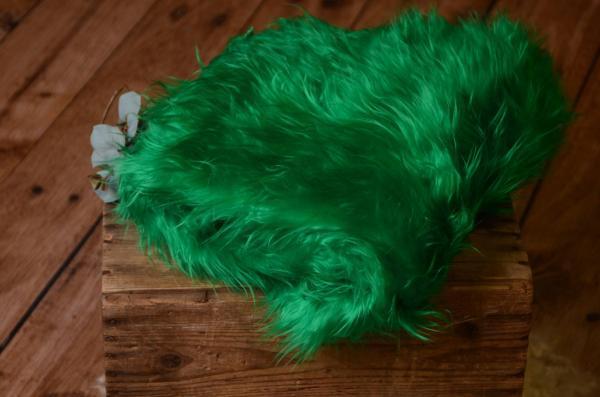 Langhaarige Decke - grün
