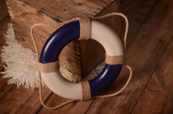 Bouée de sauvetage vintage bleu 30 cm