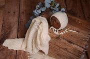 Set wrap di angora liscio e berretto bianco sporco