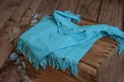 Turquoise blue fringed little fabric