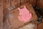 Pink ruffled mohair bodysuit and headband
