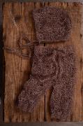 Conjunto de angora pantalón y gorro calado visón