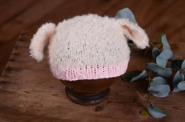 Beige and pink hat with sheep ears