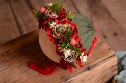 Red and green flower baby bonnet