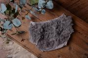 Grey ruffled nappy-cover