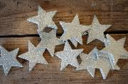 Decorative silver stars 6 cm