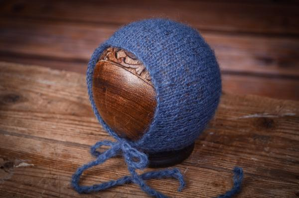 Navy blue blue mohair hat